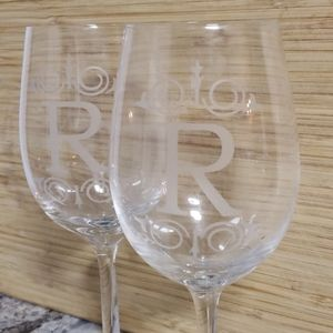 "$10 Tuesday ""R"" Print Wine Glasses"